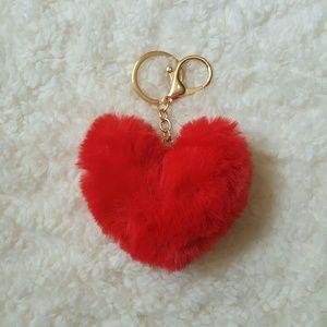 Accessories - Pom Pom Heart Keychain Handbag Pendant Key Ring